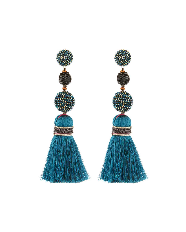 Nakamol Mixed Bead & Tassel Drop Earrings GBM2a733E