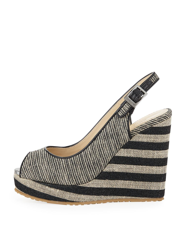a2617c3f5fe0 Lyst - Jimmy Choo Prova Mixed Striped Wedge Sandals