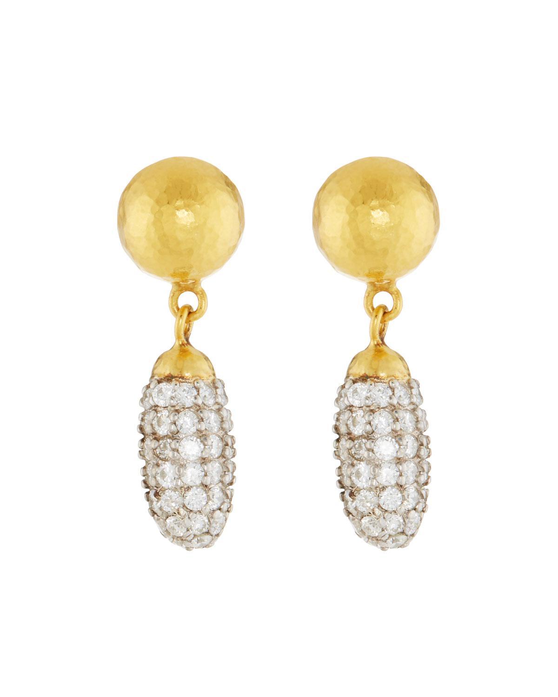 Gurhan Clove 24k Pave Diamond Small Drop Earrings mMJHHY39
