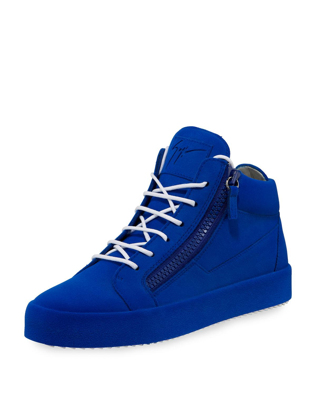 3ac588c0cedc8 Giuseppe Zanotti Men's Flocked Leather Mid-top Sneaker in Blue for ...