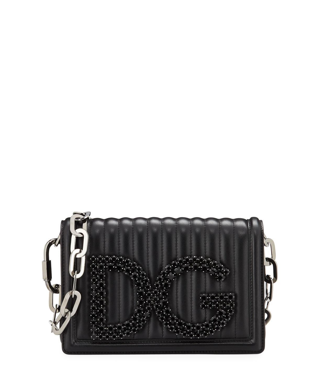9993ee0807de Dolce   Gabbana. Women s Black Dg Girls Quilted Leather Crossbody Bag
