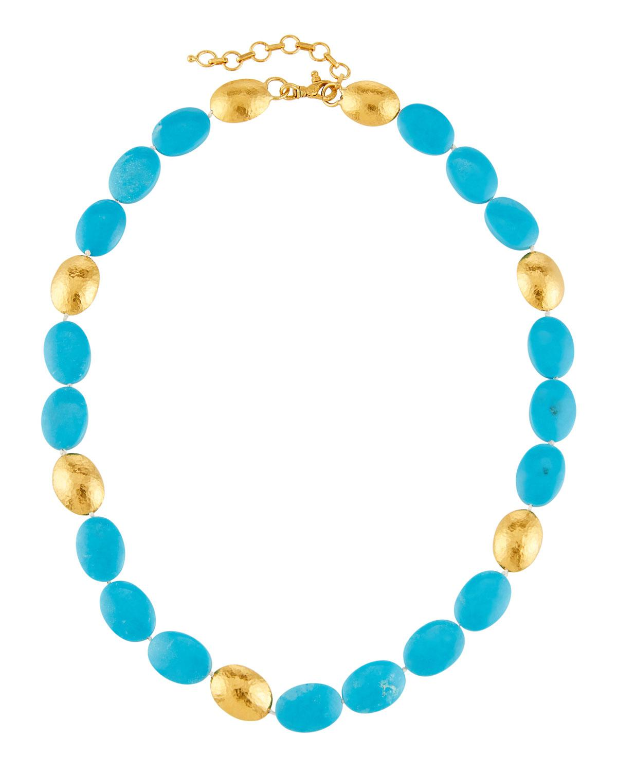 Gurhan 24k Waterfall Turquoise Necklace XSA77