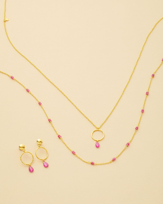 Gurhan Captiva Open Pendant Necklace w/ Ruby Drop TRVOEc