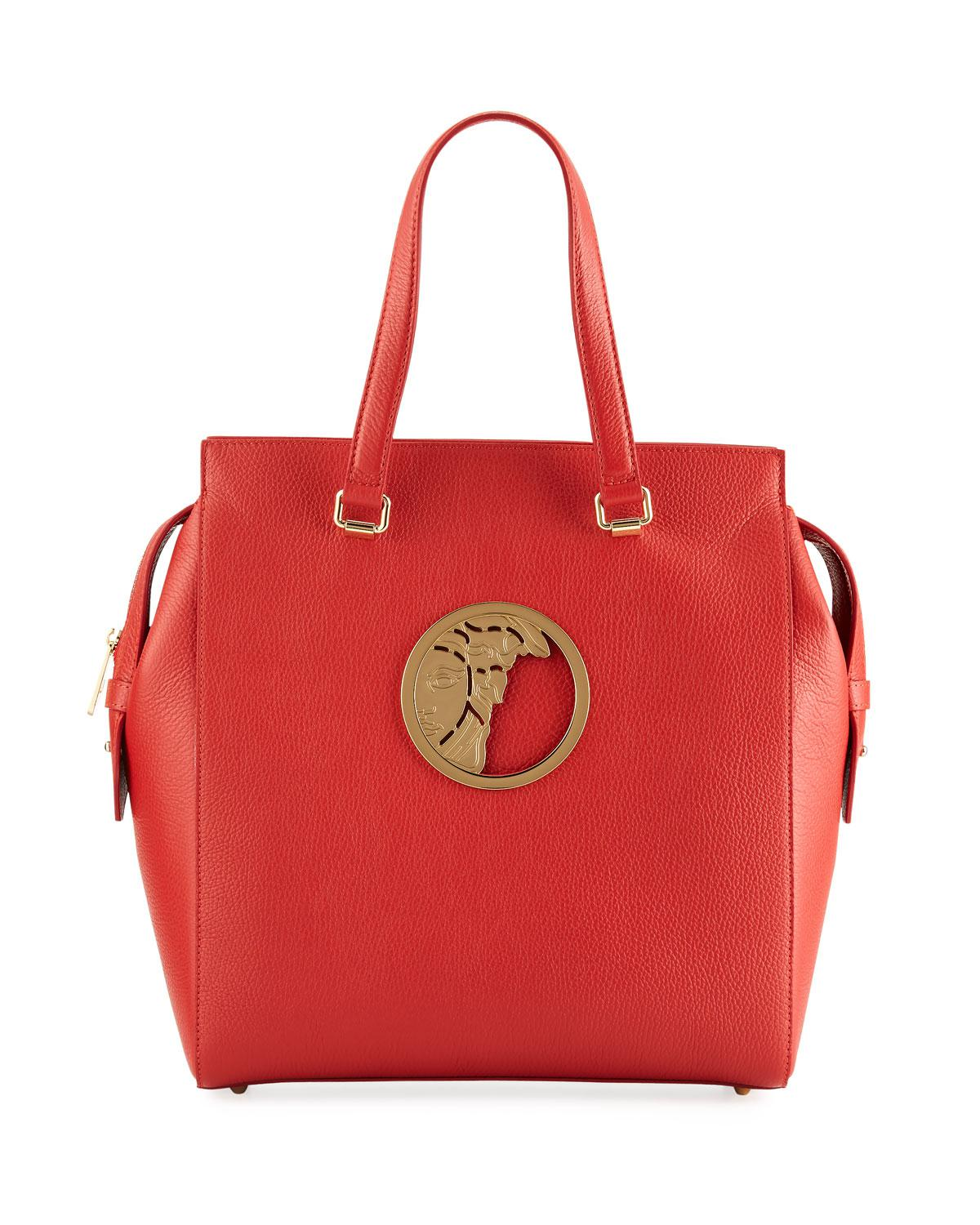 685af3f5f24c Lyst - Versace Pebbled Leather Tote Bag Red in Red
