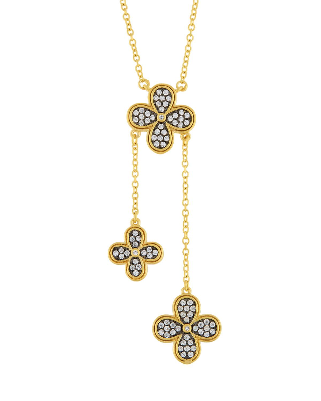 Freida Rothman Long Pave Crystal Clover Pendant Necklace YXKoH8cW