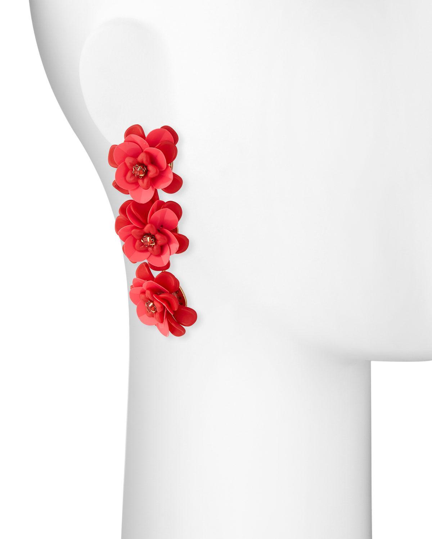 Lydell Nyc Triple Flower-Drop Earrings, Pink