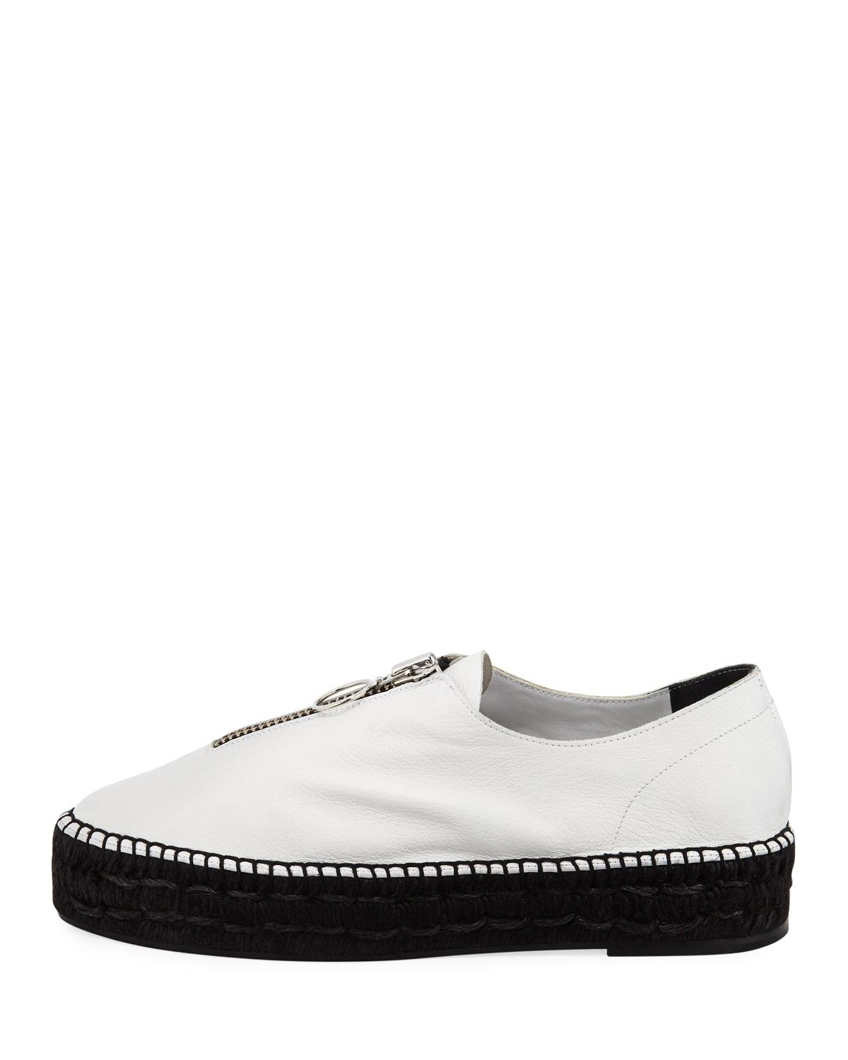 a02db5a71ee Lyst - Alexander Wang Devon Soft Leather Zip Platform Sneakers in White