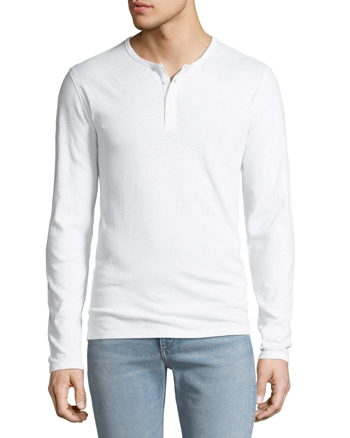 29afdba8226 Lyst - Vince Men s Long-sleeve Raw Edge Henley Shirt in White for Men