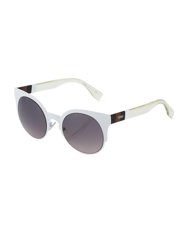 dfef5a4d39f3 Lyst - Fendi Round Metal Sunglasses in White