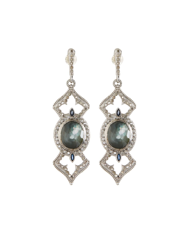 Armenta New World Midnight Open Pear Drop Earrings with Diamonds VQX0AlvGp