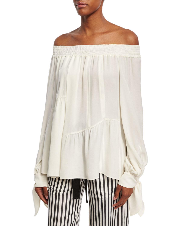 cb41fa6b3176a3 Lyst - Derek Lam Shirred Silk Off-the-shoulder Blouse in White