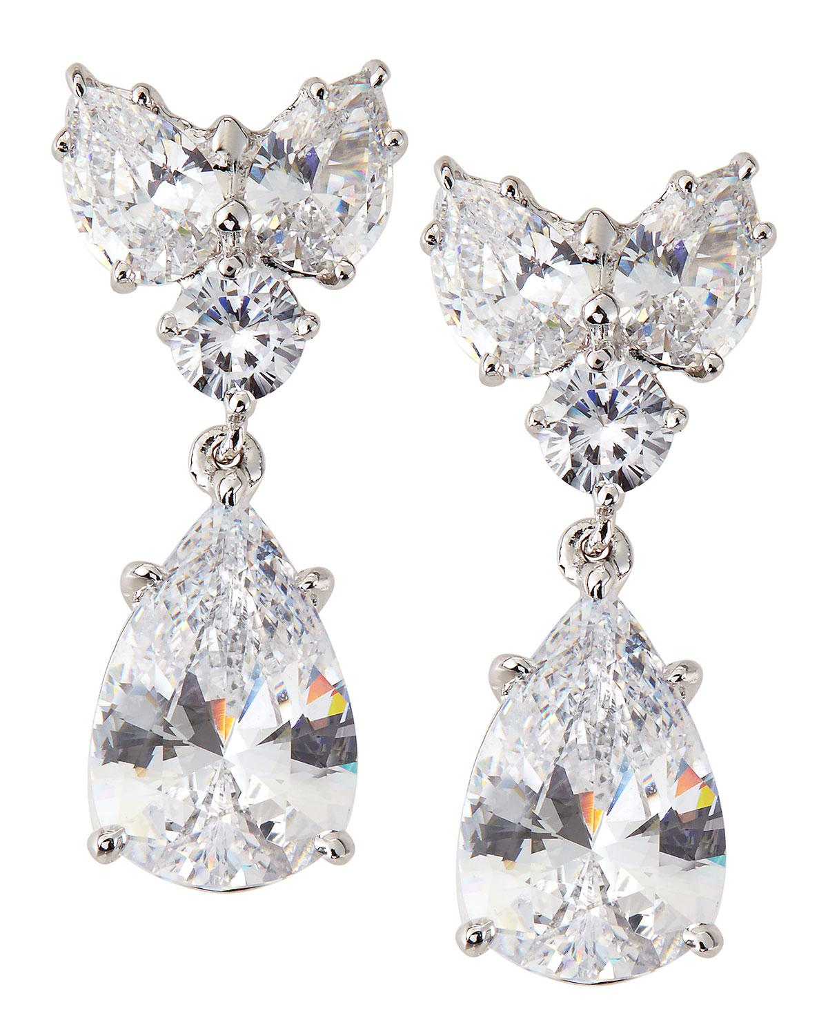 Fantasia CZ Round and Pear-Cut Linear Earrings