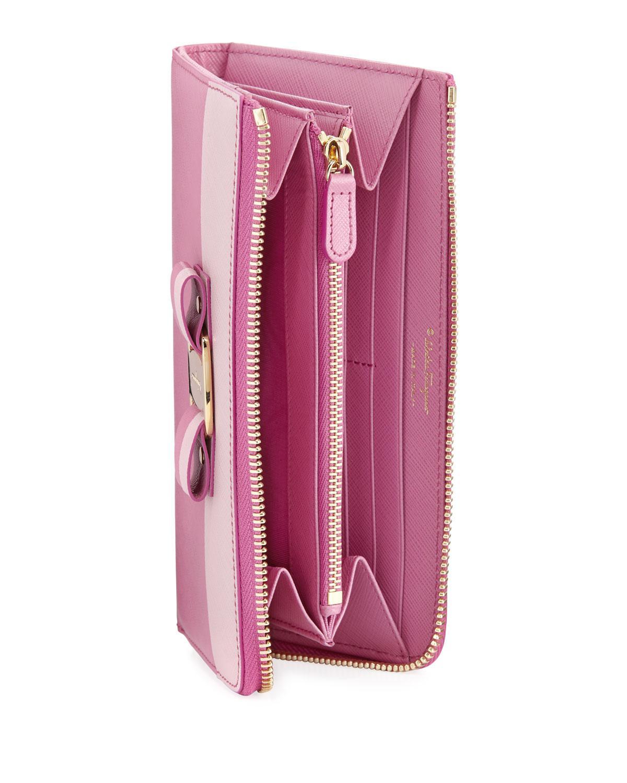 058a5e4e54 Lyst - Ferragamo Two-tone Saffiano Clutch Wallet Pink in Pink