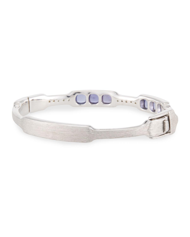 Jude Frances Moroccan Silver Cushion Bangle Bracelet in Iolite TVWGNjGW