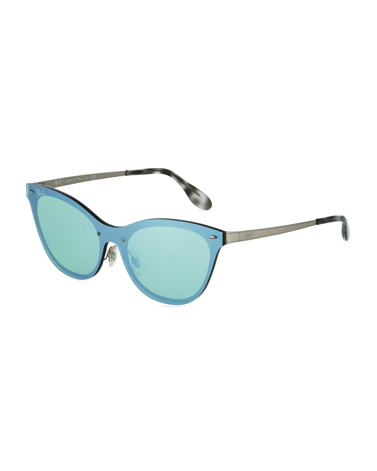 257e28d245 Lyst - Ray-Ban Mirrored Shield Cat-eye Sunglasses in Metallic