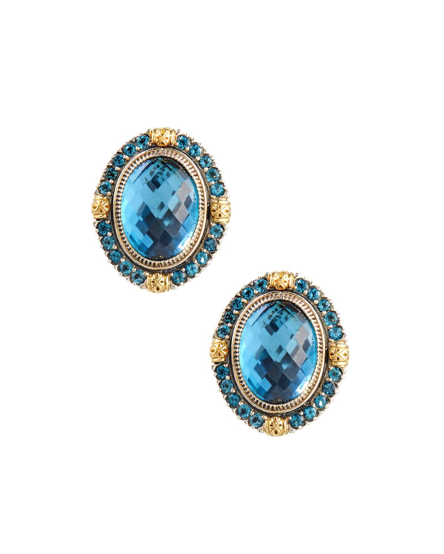 Konstantino Oval London Blue Topaz Clip Earrings aKCqqMy