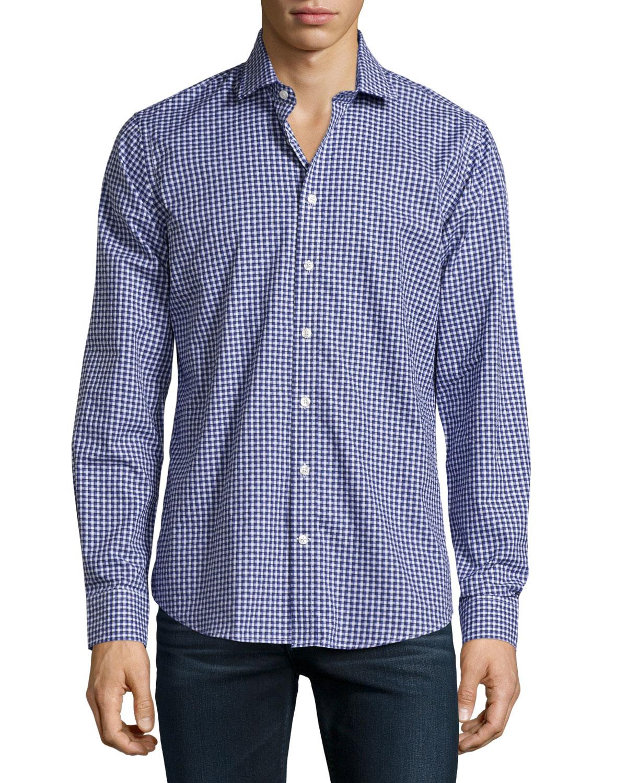 neiman sleeve check print sport shirt in blue