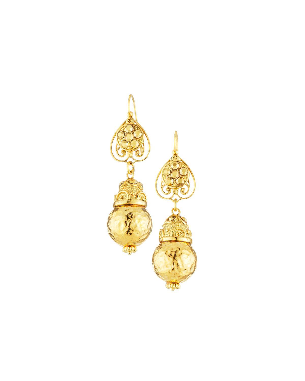 Jose & Maria Barrera Hammered 24K Gold Drop Earrings mmaFhaCAC7