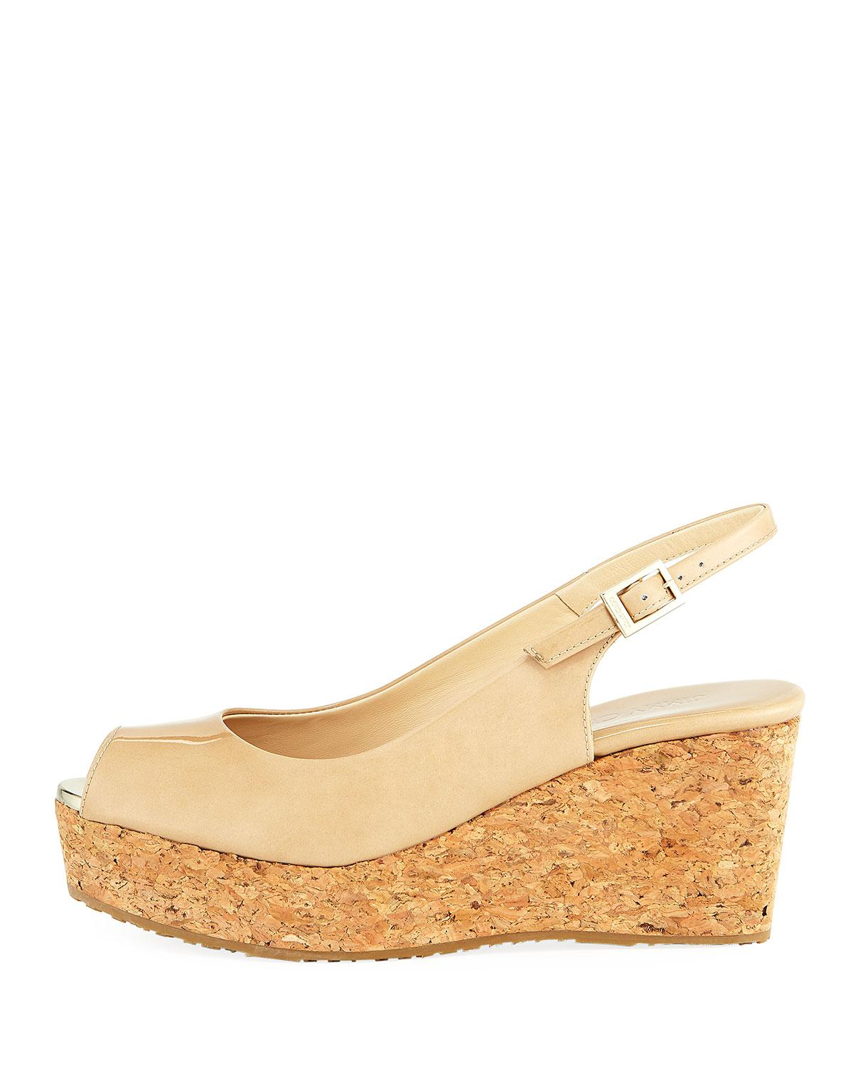 5f388020be48 Lyst - Jimmy Choo Praise Patent Slingback Wedge Sandal in Natural