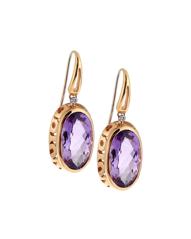 Roberto Coin Mauresque 18k Rose Gold Amethyst & Diamond Drop Earrings m7npw9infq