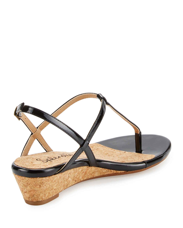 2bfb6bbddf Splendid Edgewood Patent Wedge Sandal in Black   Lyst
