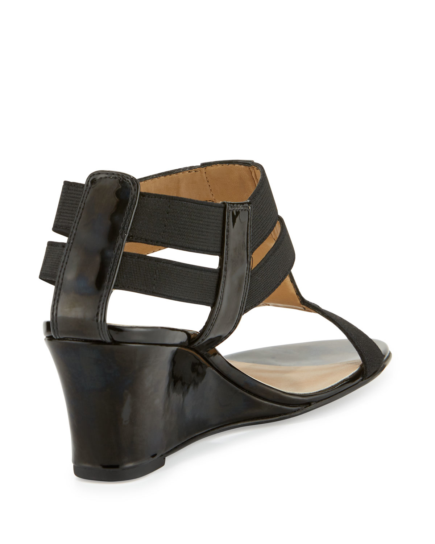 Neiman marcus Lacee Patent Wedge Sandal in Metallic | Lyst