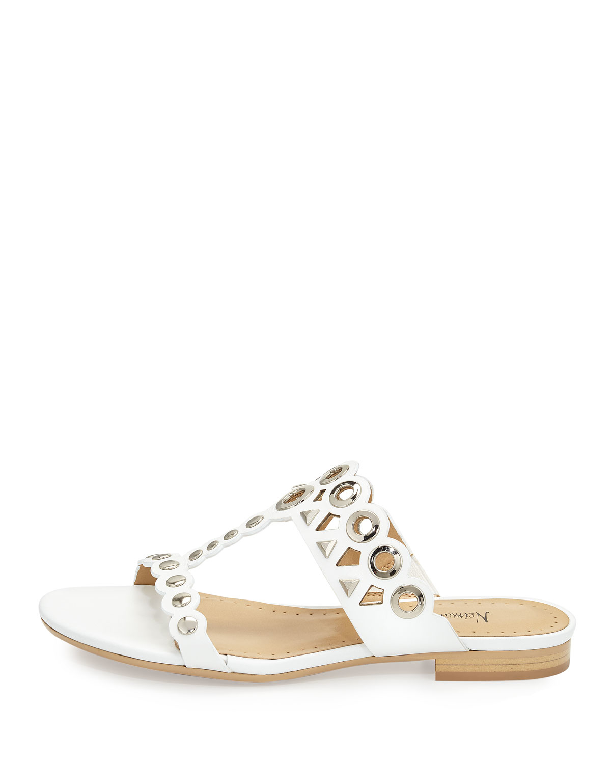 Lyst - Neiman Marcus Emmery Studded Leather T-strap Sandal ...