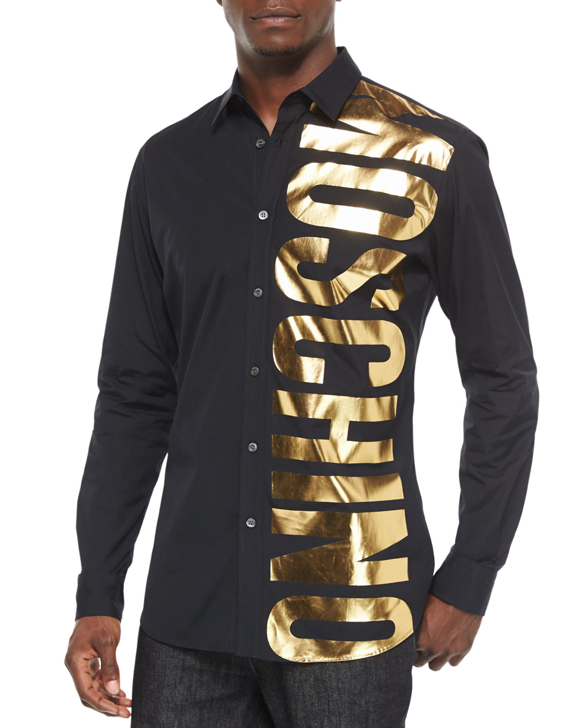 Moschino Gold Logo Long-sleeve Shirt in Black for Men | Lyst
