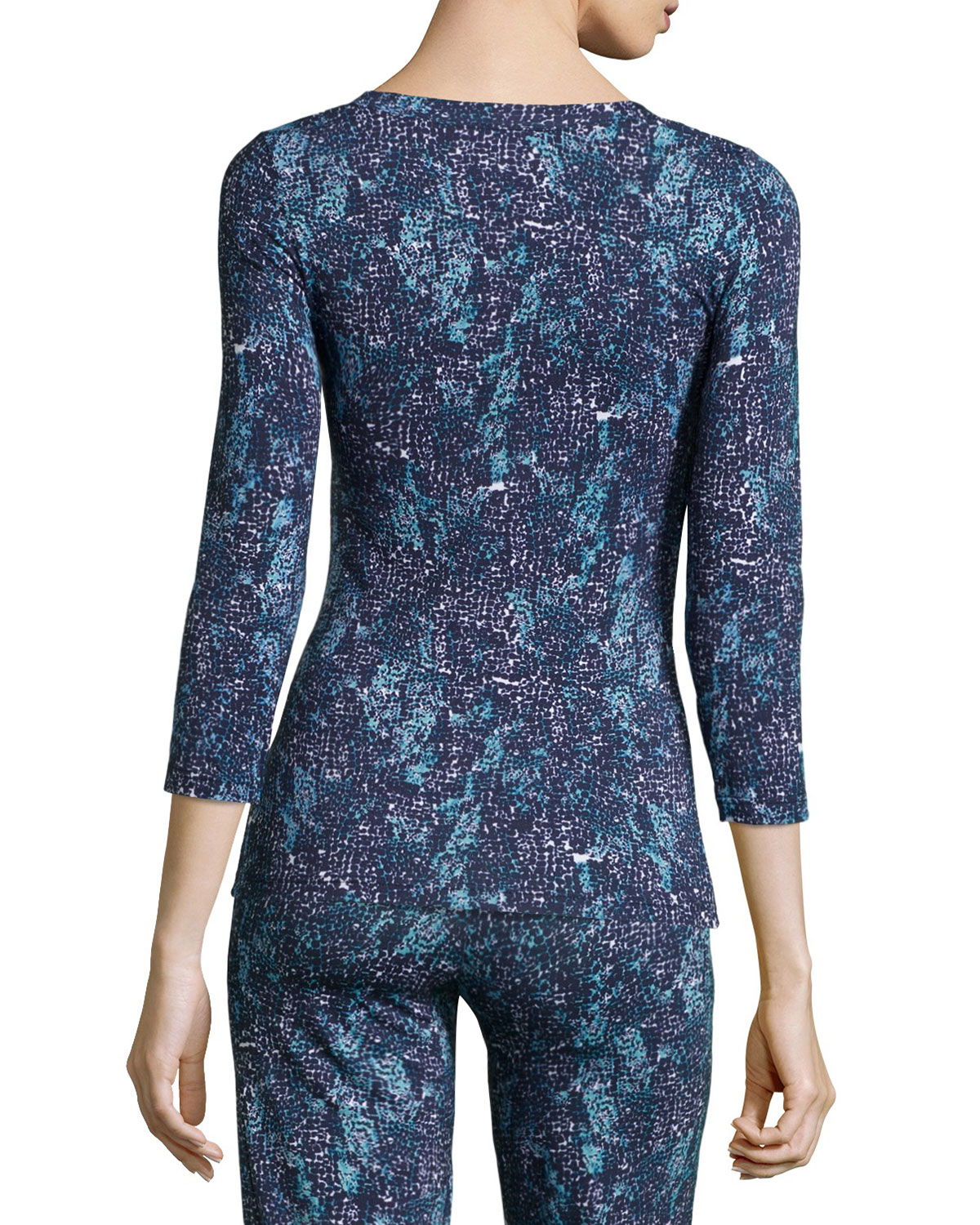 Cosabella concorde printed 3 4 sleeve lounge top in blue for 20 34 35 dress shirts