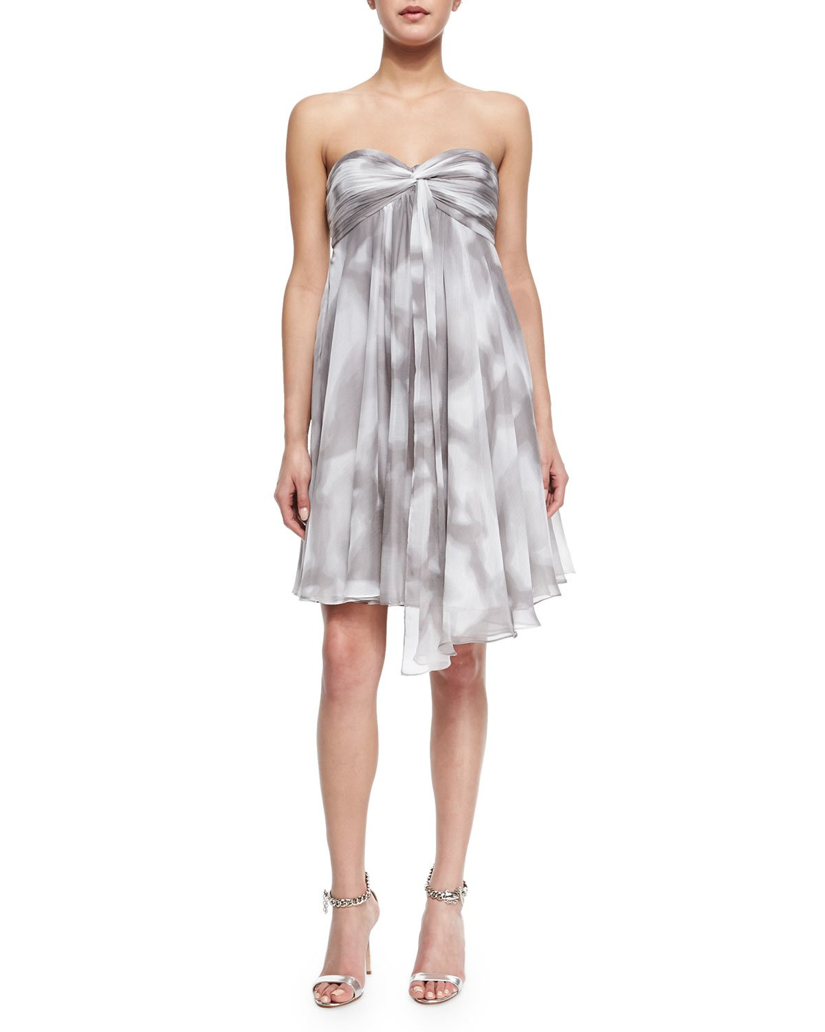 Halston strapless draped print cocktail dress in gray lyst for Halston heritage shirt dress