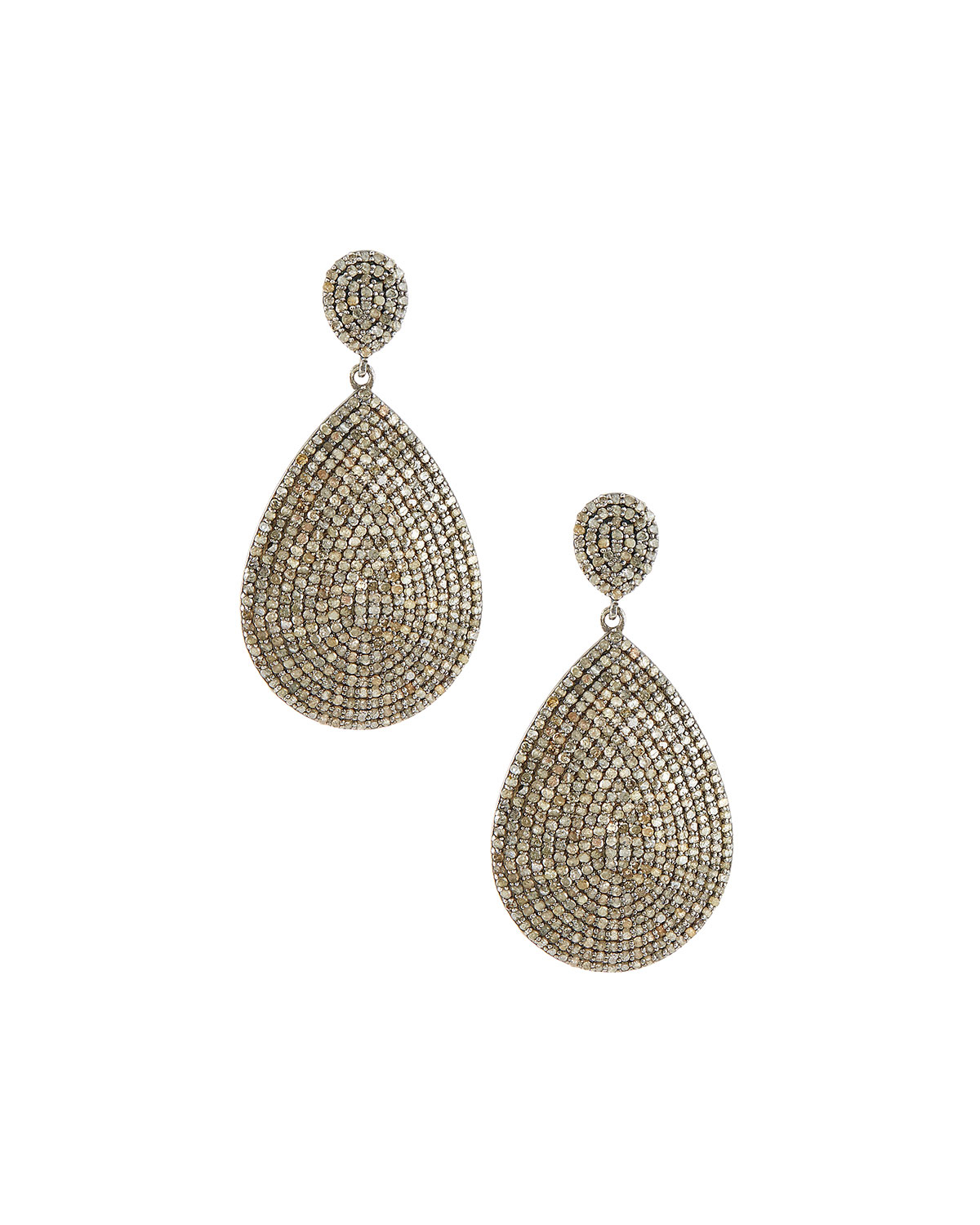 bavna jewelry bavna pave chagne teardrop earrings in metallic 5746