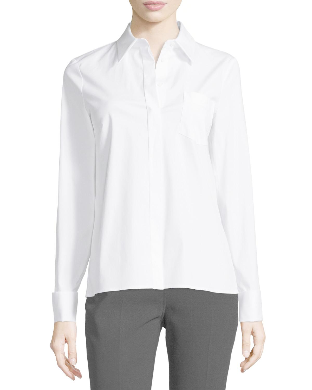 Michael kors long sleeve french cuff shirt in white lyst French cuff shirt women