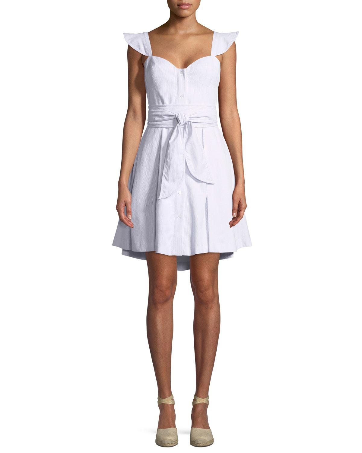 Lyst - MILLY Classic Seersucker Corset Dress in Gray - Save ... a932dc66e