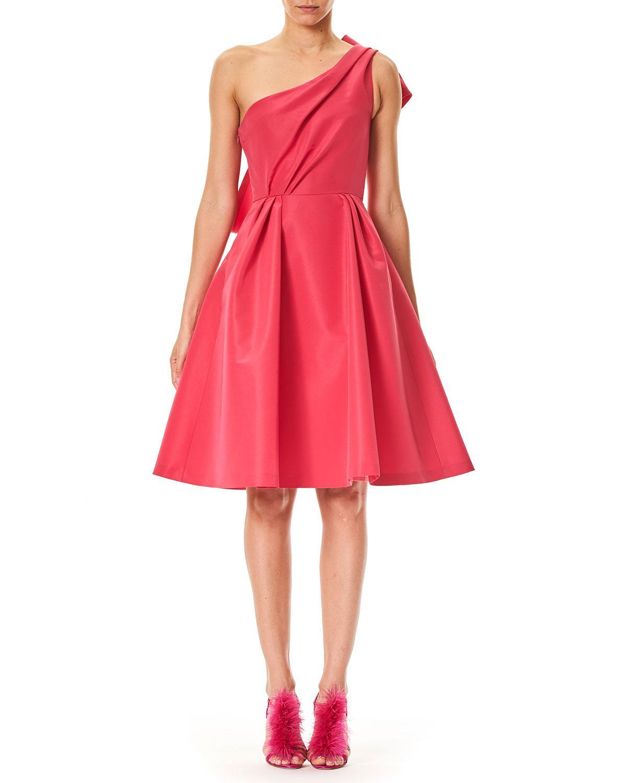 4847da3a619 Lyst - Carolina Herrera One-shoulder Cocktail Dress With Back Bow ...