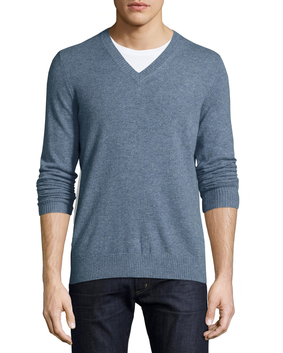 neiman marcus cashmere v neck pullover sweater in blue for men lyst. Black Bedroom Furniture Sets. Home Design Ideas