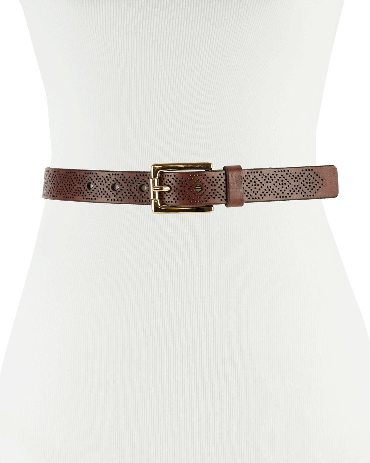 ... Lyst - Neiman Marcus 25mm Skinny Laser-cut Leather Belt in B info for  4e96b ... 25514758e2