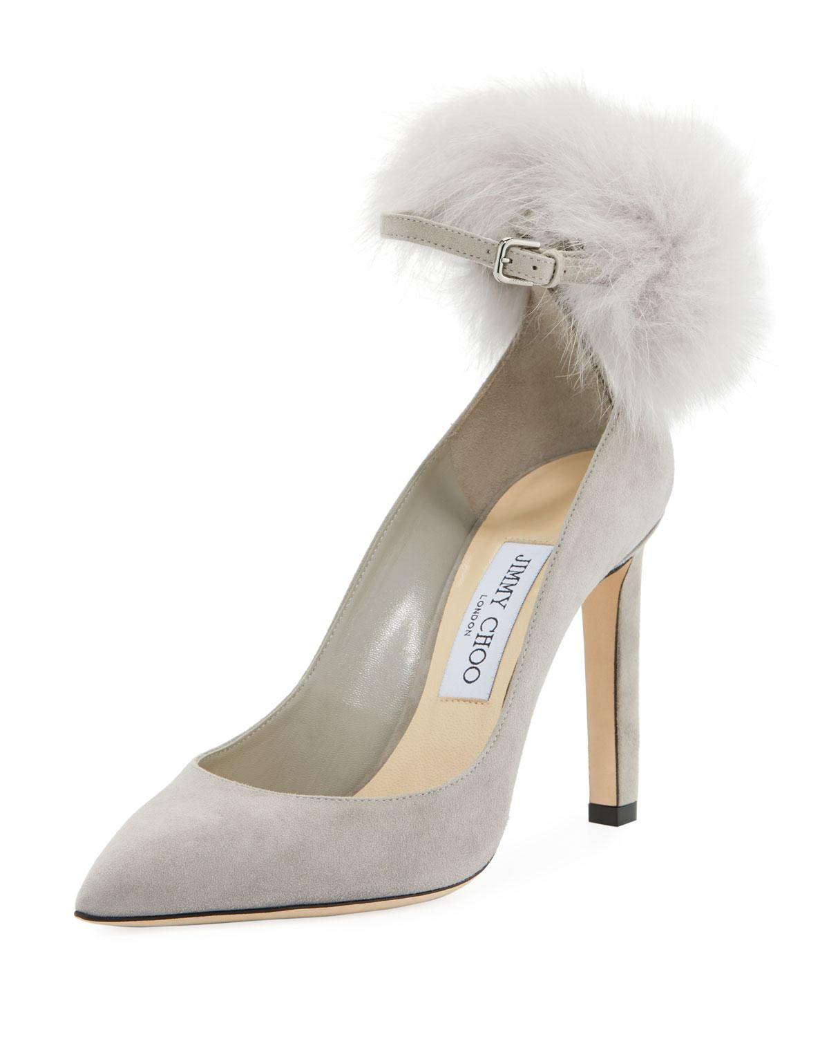 6740ddb81a95 Jimmy Choo - Multicolor South Suede Fur Pompom Pumps - Lyst. View fullscreen