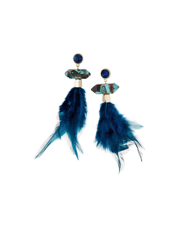 Panacea Druzy & Feather Drop Earrings 3TB9nBq2MO