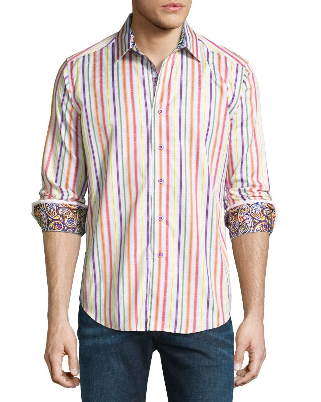 Robert graham stripe print long sleeve sport shirt in for Robert graham sport shirt