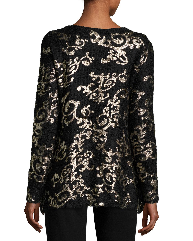 Lyst Alberto Makali Embellished Foil Print Sweater In Black