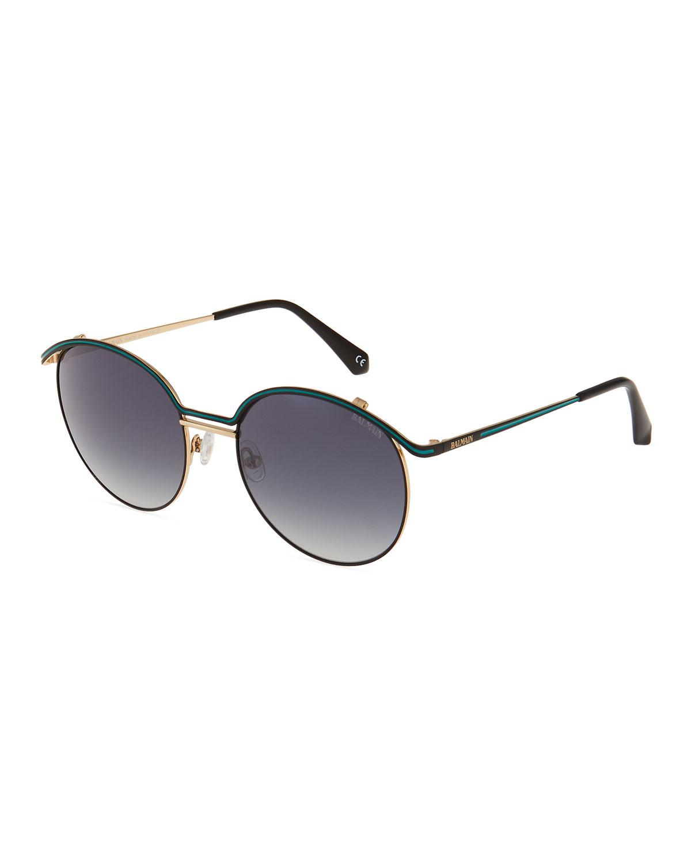 1e185c8d9141 Lyst - Balmain Round Metal Sunglasses in Black