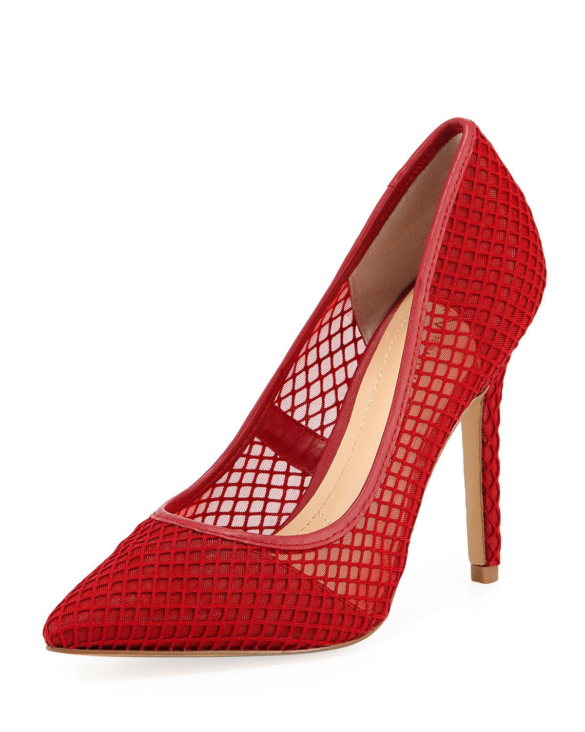29923954279d Lyst - Neiman Marcus Prestige Mesh Pointed Pump in Red
