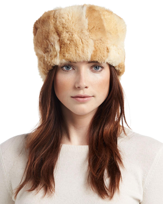 Lyst - Adrienne Landau Knit Rabbit Fur Hat in Brown 406c3a96f6b