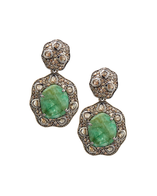bavna emerald champagne diamond drop earrings in green. Black Bedroom Furniture Sets. Home Design Ideas