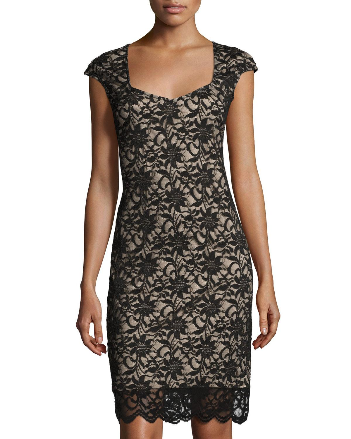 Lyst neiman marcus lace overlay sheath dress in black for Neiman marcus wedding guest dresses