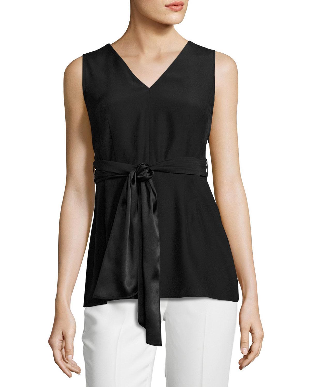 Lafayette 148 new york Roxanne Sleeveless Tie-waist Silk ...