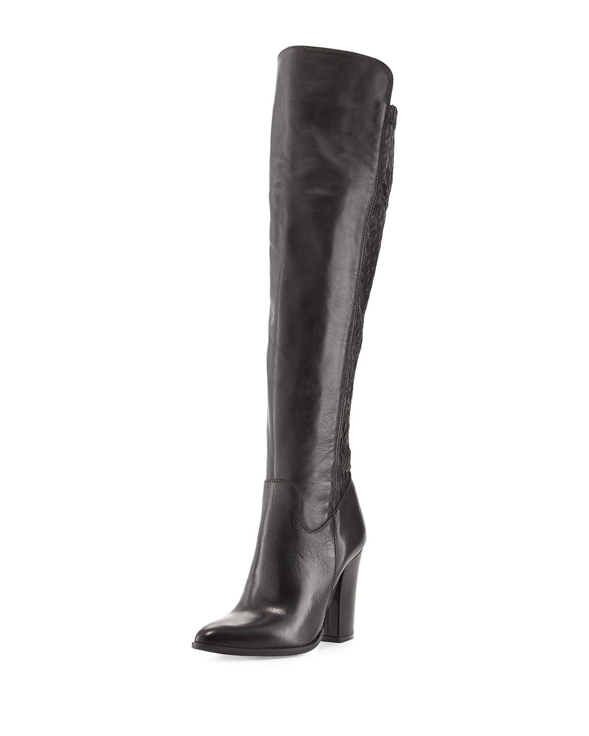charles david chela stretch leather boot in black lyst