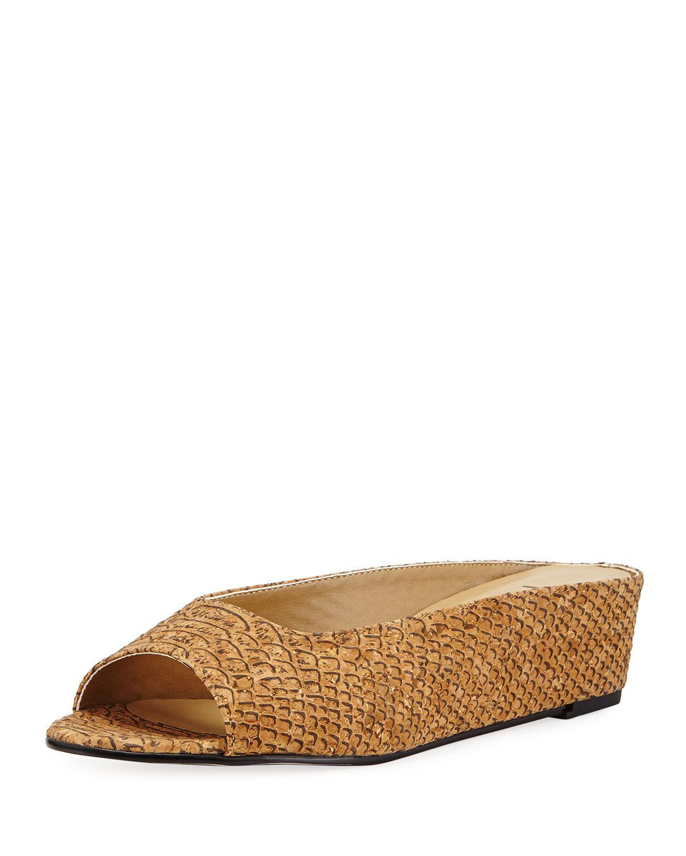 Neiman marcus Kade Embossed Cork Slide Flat Sandal in ...