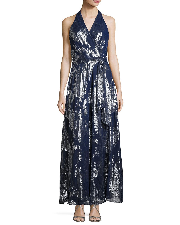51dbe2736b Lyst - Chetta B Belted Paisley-print Maxi Dress in Blue