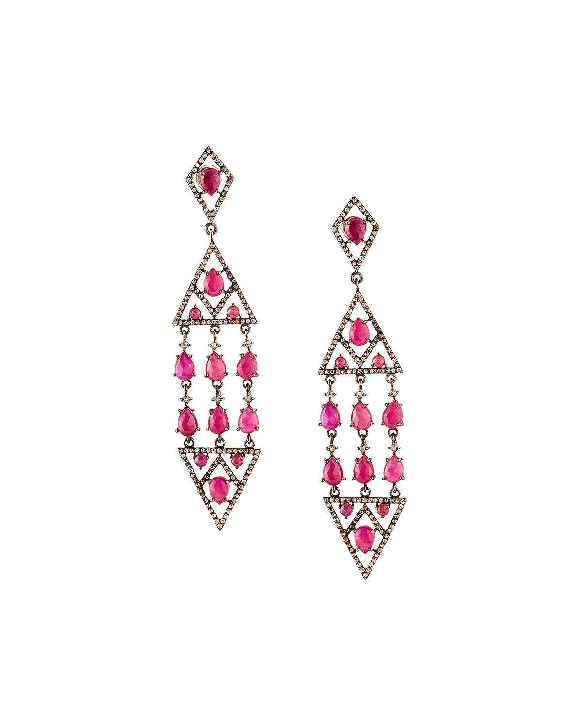 Red Diamond Chandelier Earrings: Bavna Composite Ruby & Diamond Chandelier Earrings